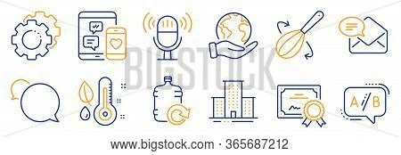 Set Of Business Icons, Such As Microphone, New Mail. Certificate, Save Planet. Messenger, Cooking Wh