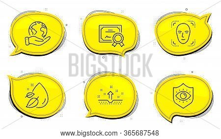 Face Detection Sign. Diploma Certificate, Save Planet Chat Bubbles. Eye Protection, Water Drop And C