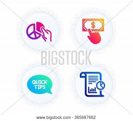 Pie Chart, Payment Click And Quickstart Guide Icons Simple Set. Button With Halftone Dots. Report Si