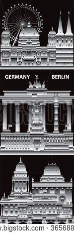 Vertical Berlin Skyline Travel Illustration With Architectural Landmarks. Berlin Traveling Concept,