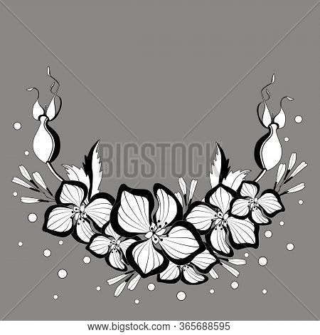..vector Flower Arrangement. Hydrangea And Rose Hips On A Gray Background