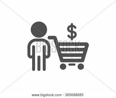 Buyer With Shopping Cart Icon. Customer Sign. Supermarket Client Symbol. Classic Flat Style. Quality