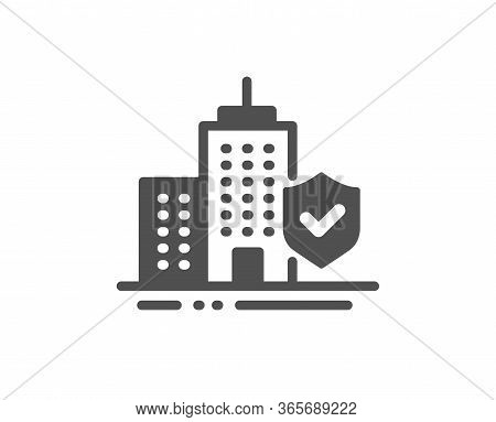 Apartment Insurance Hand Icon. Risk Coverage Sign. Building Protection Symbol. Classic Flat Style. Q