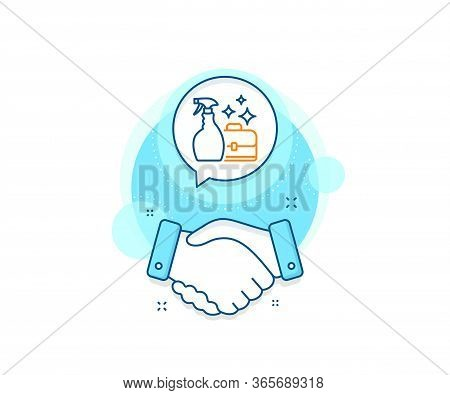 Washing Liquid Or Cleanser Symbol. Handshake Deal Complex Icon. Cleaning Spray Line Icon. Housekeepi