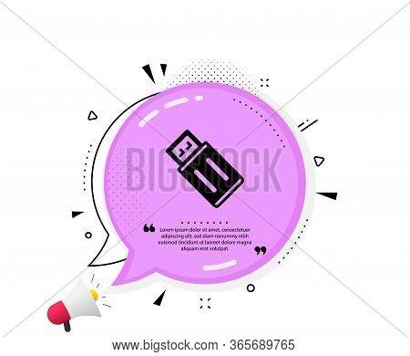 Usb Flash Drive Icon. Quote Speech Bubble. Memory Stick Sign. Portable Data Storage Symbol. Quotatio