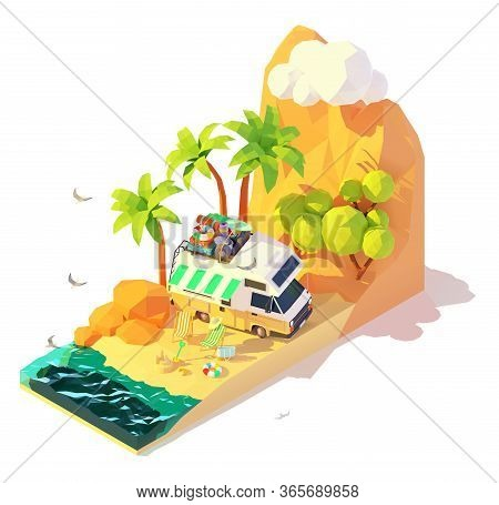 Vector Isometric Camper On The Sunny Tropical Beach. Summer Travel And Vacation Illustration. Holida