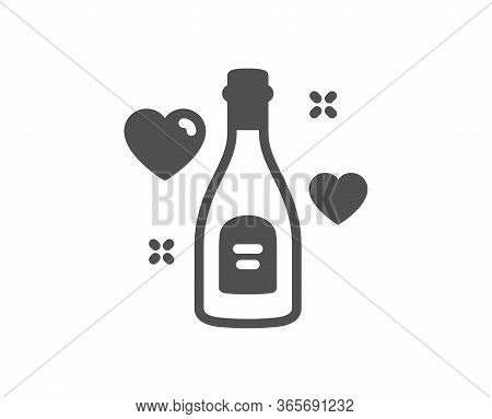 Love Champagne Icon. Wedding Drink Sign. Couple Relationships Symbol. Classic Flat Style. Quality De