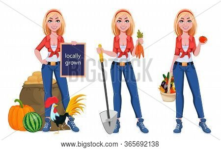 Happy Smiling Farm Girl, Set Of Three Poses. Beautiful Farmer Woman Cartoon Character. Vector Illust