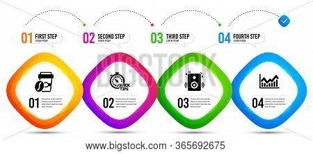 Quick Tips, Takeaway Coffee And Speakers Icons Simple Set. Timeline Infographic. Infochart Sign. Hel