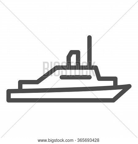 Pleasure Boat Line Icon, Sea Transport Symbol, Yacht Vector Sign On White Background, Speed Boat Ico
