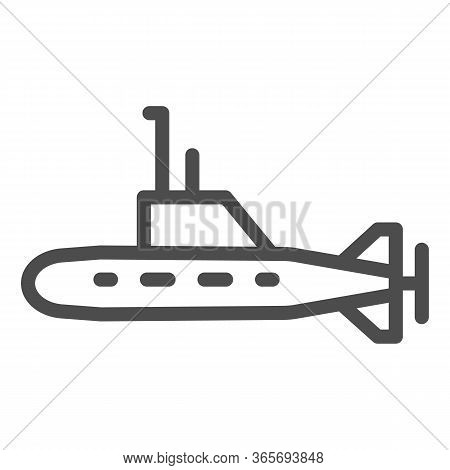 Submarine Line Icon, Warship Transport Symbol, Underwater Boat Vector Sign On White Background, Subm