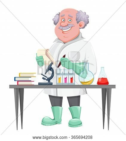 Professor Cartoon Character Standing Near Laboratory Table. Usable Also As Scientist, Chemist, Labor