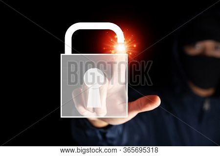 Malware Internet Hacker Thief Unlock Key Concept On Black Background In Concept Of Digital Wallet Mo