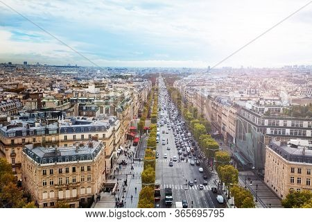 Avenue And Des Champs-elysees View From Above In Paris Towards Downtown