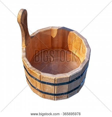 Wooden Tub With Ice Inside Isolated On A White Background. Iron Tightening Rings Connect Parts Of Th