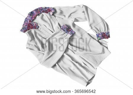 White Silk Blouse With Colorful Collar And Cuffs Isolated Over White