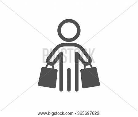 Buyer With Shopping Bags Icon. Customer Sign. Supermarket Client Symbol. Classic Flat Style. Quality