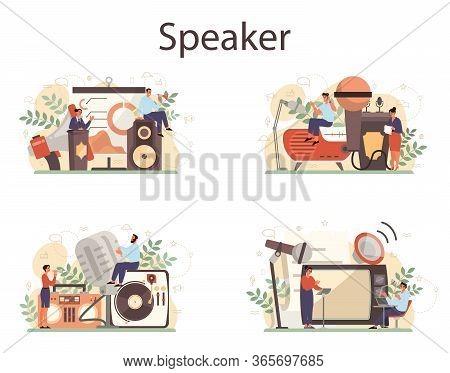 Professional Speaker, Commentator Or Voice Actor Concept Set. Peson