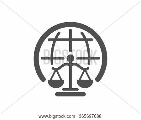 Magistrates Court Icon. Justice Scales Sign. Internet Law Symbol. Classic Flat Style. Quality Design