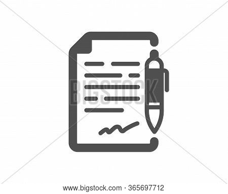 Agreement Document Icon. Contract File Signature Sign. Office Note Symbol. Classic Flat Style. Quali
