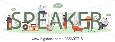 Professional Speaker Or Commentator Typographic Header Concept.