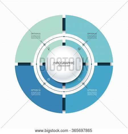 Infographic Circular Chart Divided Into 4 Parts. Step-by Step Cycle Diagram With Four Options Design