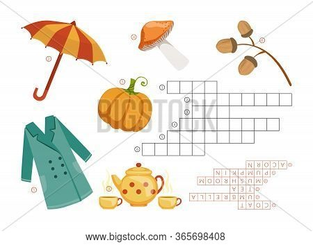 Learn English With An Autumn Crossword Educational Game For Kids, Autumn Theme, Learn English Concep