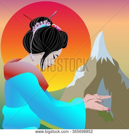Geisha Pointing And Invaiting Welcome To Japan. Vector Illustration Poster Geisha And Nature Japan B