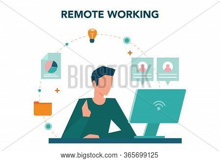 Remote Working Concept. Telework And Global Outsourcing,