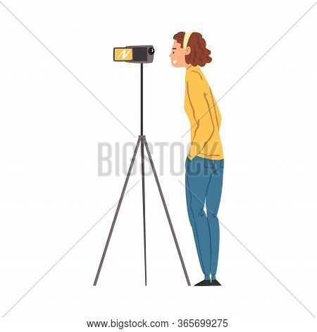 Cameraman Shooting With Camera On Tripod, Female Video Operator With Professional Equipment, Film Sc