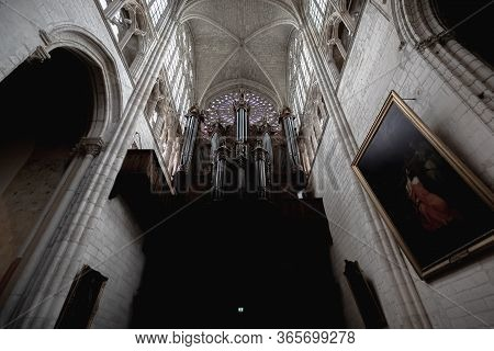 Tours, France - February 8, 2020: Detail Of The Organ Of Tours In Saint-gatien Cathedral In The City