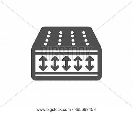 Mattress Icon. Orthopedic Flexible Pad Sign. Breathable Sleep Bed Symbol. Classic Flat Style. Qualit