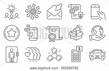 Set Of Business Icons, Such As Calculator, Friends Couple. Diploma, Ideas, Save Planet. Chemistry Mo