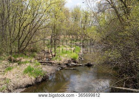 Small Creek Running Through Elm Creek Park Reserve In Maple Grove Minnesota During Springtime