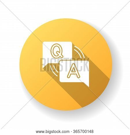 Faq Yellow Flat Design Long Shadow Glyph Icon. Frequently Asked Questions. Customer Support Service.