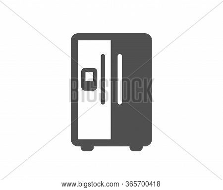 Refrigerator With Ice Maker Icon. Fridge Sign. Freezer Storage Symbol. Classic Flat Style. Quality D
