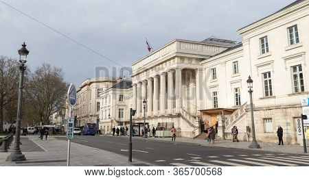Tours, France - February 8, 2020: People Walking In Front Of The Palais De Justice (court Of Justice