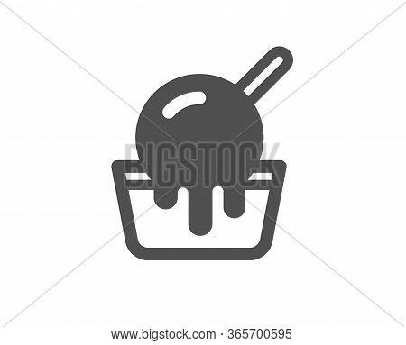 Ice Cream Cup Icon. Vanilla Sundae Sign. Frozen Summer Dessert Symbol. Classic Flat Style. Quality D