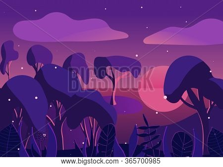 Purple, Violet Sunset In The Woods Near River. Evening Magic Forest With Bushes, Plants, Fireflies.