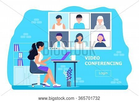 Remote School Class Is Studying. Video Call Conference Concept Vector. Social Distancing During Quar
