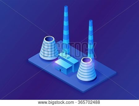 Thermal Power Plant 3d Isometric Concept, Blue Neon Vector Illustration Of Electric Power Station, E