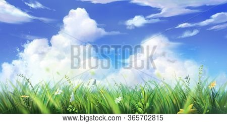 Grass, Sky And Cloud. Wallpaper. Fantasy Backdrop. Concept Art. Realistic Illustration. Video Game D