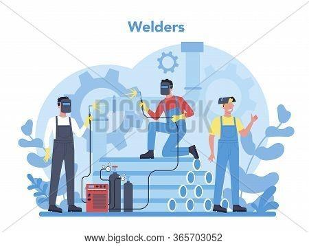 Welder And Welding Service Concept. Professional Welder