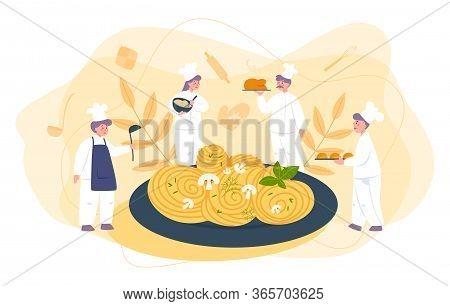 Little Chef In Professional Uniform Cook Spaghetti Or Pasta. Italian Food