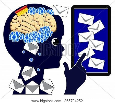 Mobile Phone Is Brainwashing Child. The Daily Flood Of Information Manipulates The Shape Of The Brai