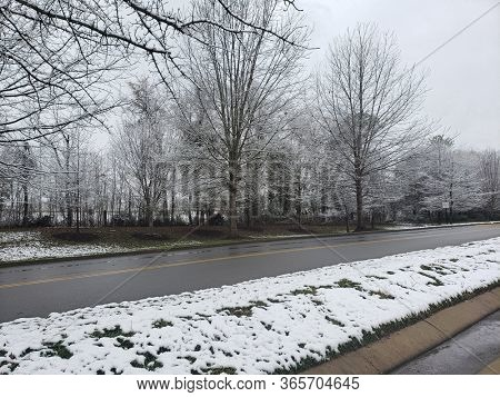 Dangerous Driving Conditions, Iced  Road  in Tennessee 2019 during winter.
