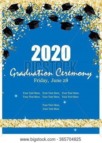 Graduation Class Ceremony Of 2020 Greeting Cards Set With Graduate Hats In The Air Gold Confetti. Ve