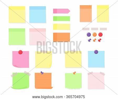 Note Paper With Adhesive Tape, Colorful Pushpins And Magnets - Set Of Flat Vector Illustration.