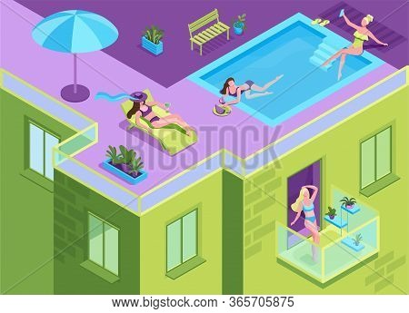 Girl In Bikini Sunbathing On The Roof Of Residential Building During Quarantine Time, Woman Getting