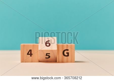 4g, 5g Or 6g Generation Of Wireless Mobile Telecommunications. Network Technology. Wooden Cubes, Let
